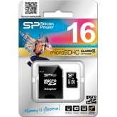 Silicon Power microSDHC Card with Adapter - 16GB