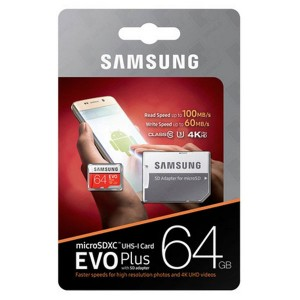 Samsung microSDXC EVO Plus Card with SD Adapter - 64GB
